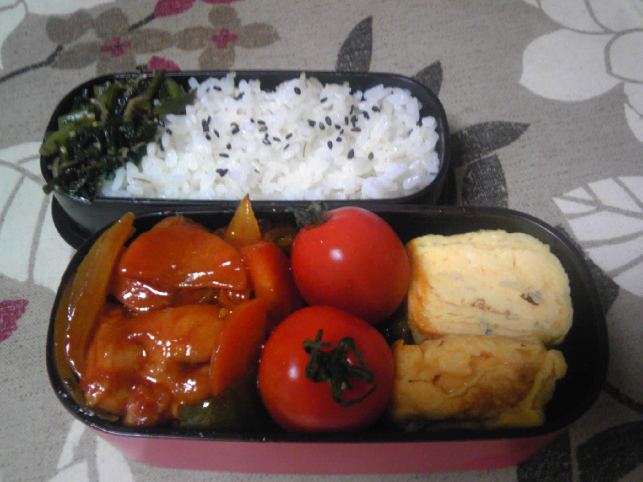 鶏と野菜のケチャップだれ炒め弁当